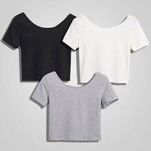 2021 Summer Women T-shirts Short White Tees Tops Casual O Neck Crop Tops  Short Sleeve Bare Midriff Bottom T-Shirts Female