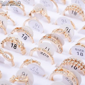 10pcs Wholesale Lots Bulk Rings Jewelry Fashion Gold Color Crystal Rhinestone Wedding Rings Female Jewelry #0201