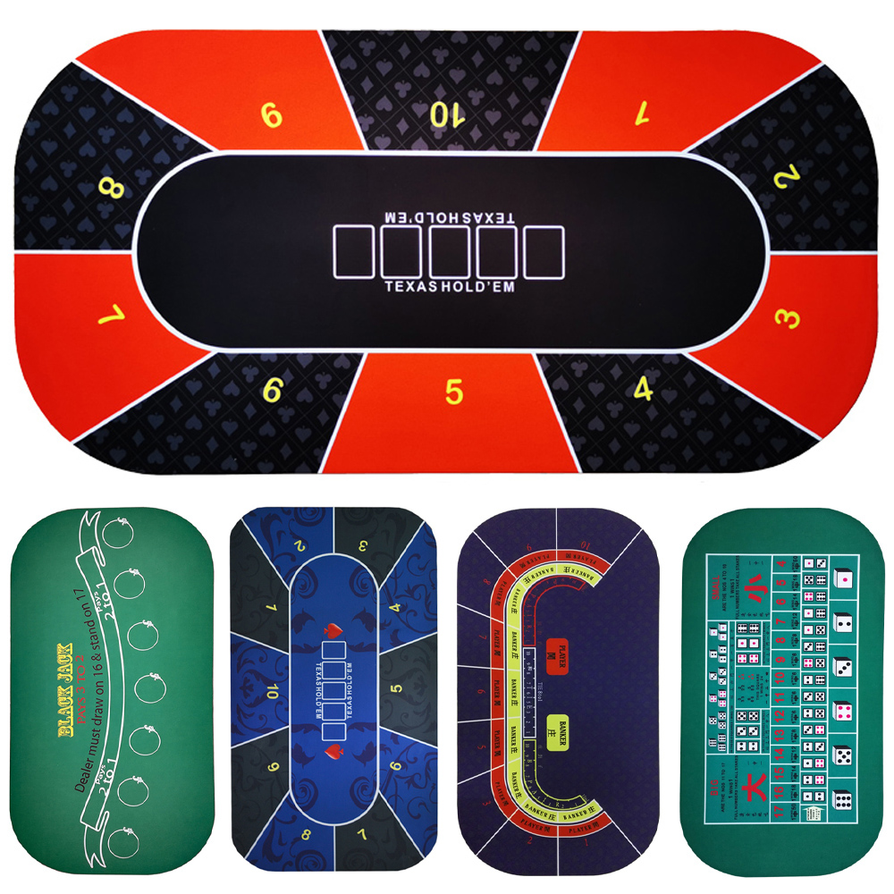 1.2*0.6m Hold'em Texas Poker Mat Black Jack Baccarat Dice Mat  Durable Rubber Home Gaming Desk Pad