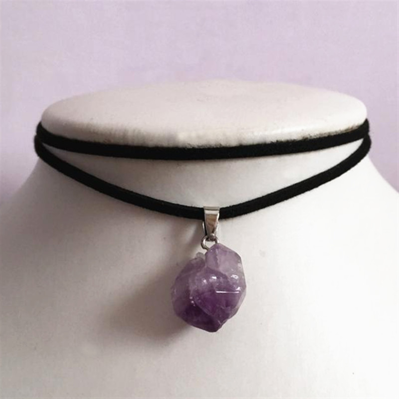 Purple stone choker crystal necklace suede lilac black Fashion Witcher jewelry novelty beautiful 2020 NEW Women Gift