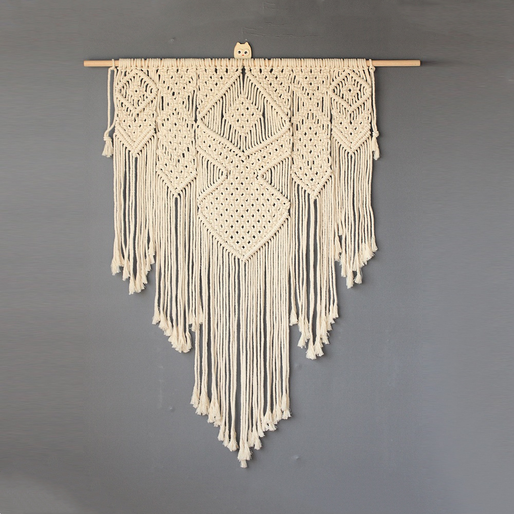 1pc Elegant Handicrafts Heart Macrame Wall Hanging Tapestry Bohemian Woven Tapestry Geometric Art Bedroom Living Room Decoration