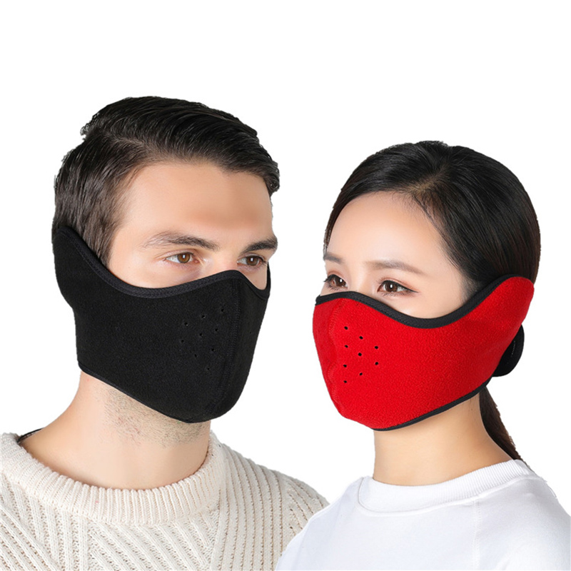 Men Women Winter Warm Mask Fleece Thermal Earmuffs Riding Ski Snowboard Half Face Windproof Dustproof Outdoor Cycling Mouth Mask