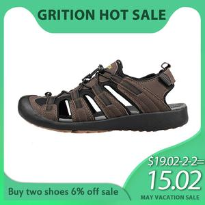 GRITION Men Sandals Nubuck Leather Flat Hiking Sport Summer Shoes Water Beach Outdoor Work Fashion Trekking Male Big Size Clog(China)