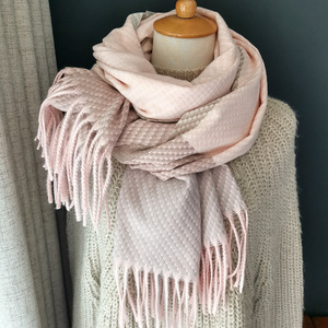 Image 2 - Knitting Cashmere Pashmina Scarf Long Scarf with Tessel Warmer Winter Fashion Scarf Luxury Gift for Women Ladies