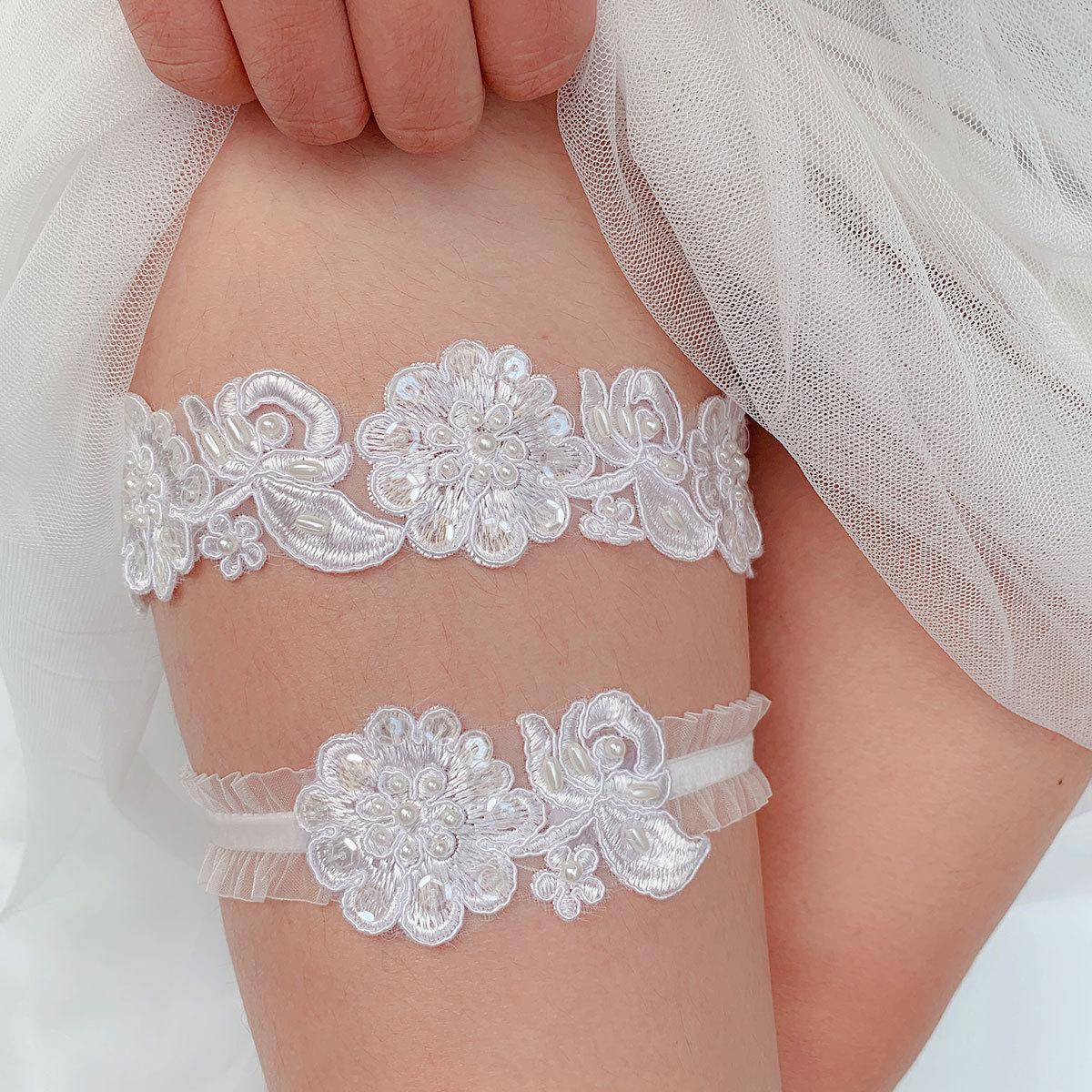 Kyunovia Wedding Garter Flower Pearl Garter Party Bridal Accessories Cosplay Sexy Lace Elastic Leg Garter Belt BY30