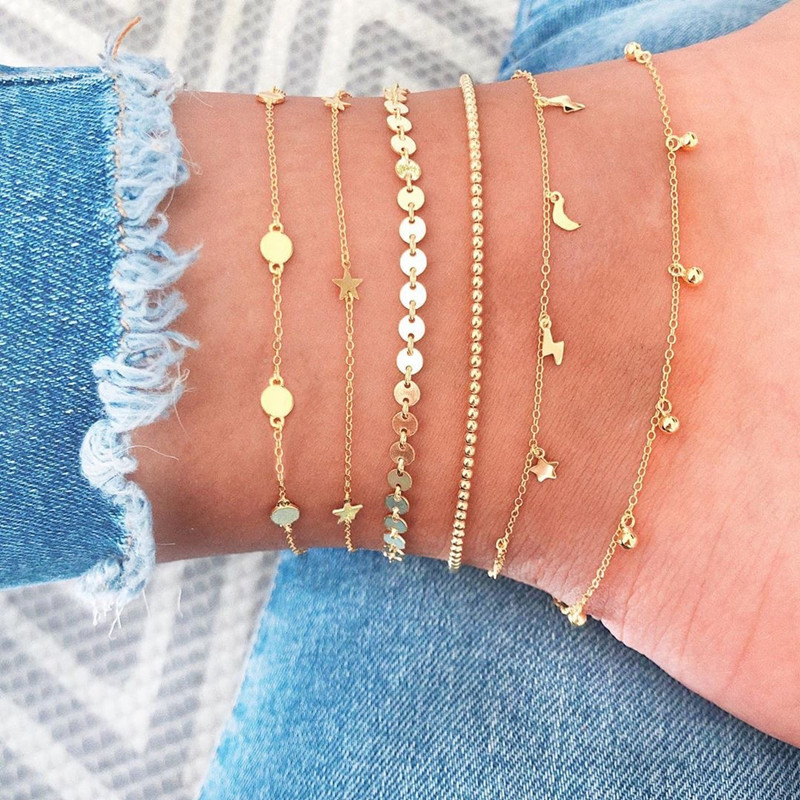 6 Pcs/Set Vintage Gold Color Anklet Women Lightning Star Moon Sequins Bracelet Boho Ankle Bracelet Fashion Foot Jewelry