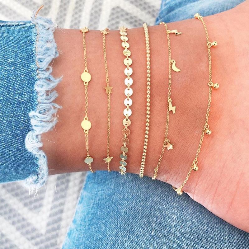 6 Pcs/Set Vintage Gold Color Anklet Women Lightning Star Moon Sequins Bracelet Boho Ankle Bracelet Fashion Foot Jewelry