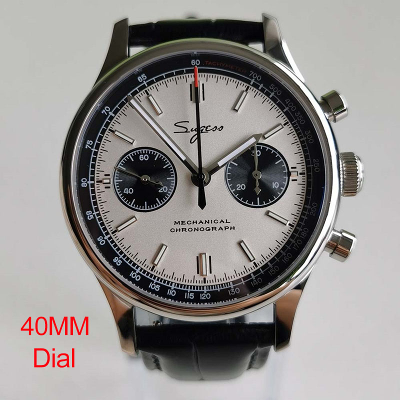 SUGESS Chronograph Watch 40MM Steel Belt Pilot Watch Sapphire Seagull ST1901 Movement Mechanical Watch Men Panda Waterproof