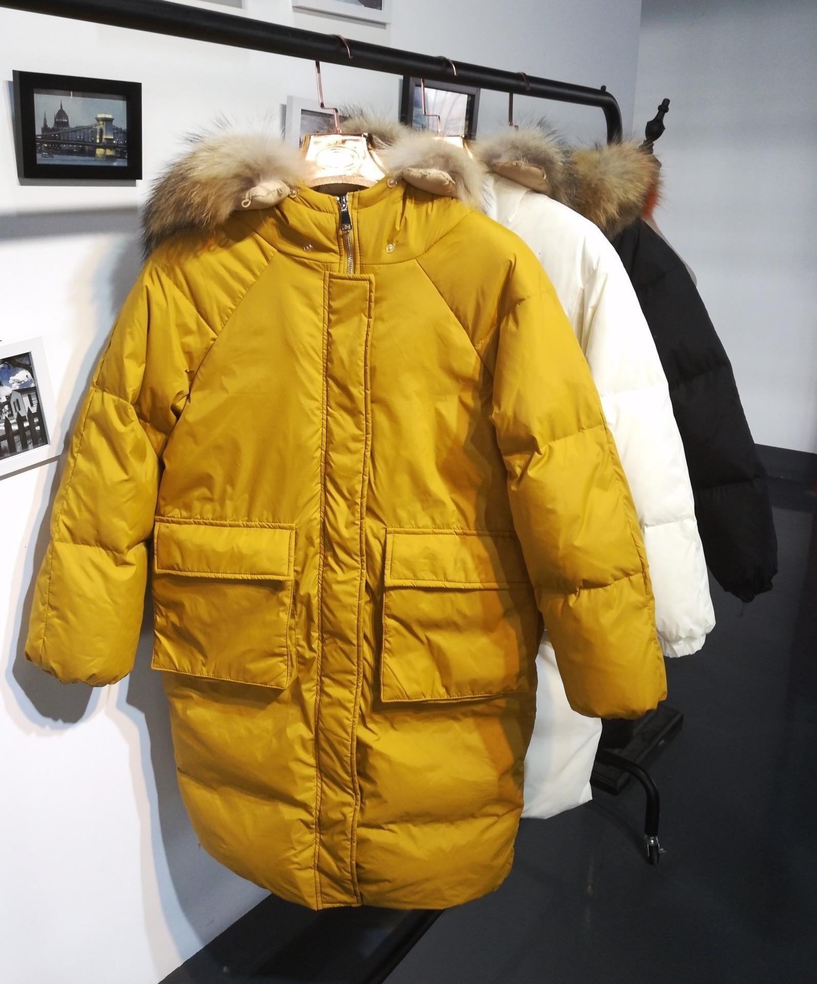 2019 Back Season Heavy Seta Lead Girls Long Fund   Down   Jackets Easy Thin Overknee Will Pocket Loose   Coat   Tide