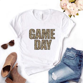 Juego día leopardo estampado Mujer camiseta algodón Casual divertida camiseta regalo para señora Yong Girl Top Tee Drop Ship PM-21