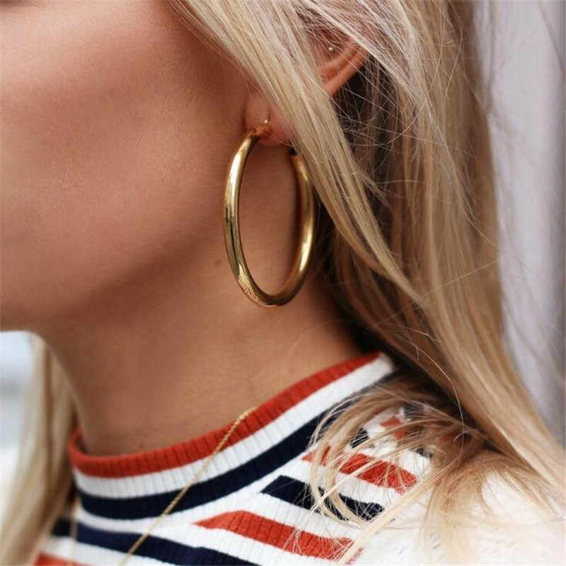 ALYXUY Big Gold Hoops Earrings Female Minimalist Thick Tube Round Circle Rings Alloy Silver Earrings Women's Jewelry Wholesale