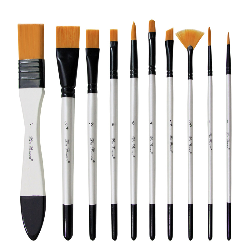 10pcs/lot Professional Paint Brush Set With Canvas Bag Palette For Watercolor Wooden Handle Oil Brushes DIY Acrylic Art Supplies
