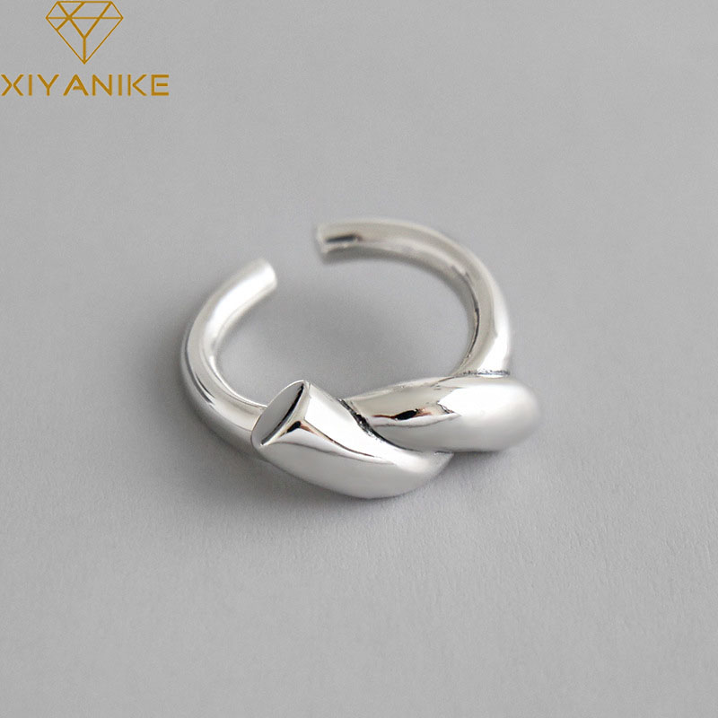XIYANIKE 925 Sterling Silver Handmade Rings For Women Korean Fashion Simple Knotted Ring Thai Silver Jewelry Party Accessories