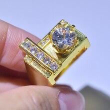 купить 14K Gold Round Diamond Jewelry Ring for Women Luxury White Topaz Gemstone Fine Jewelry Bizuteria Engagement 14K Diamond Rings дешево