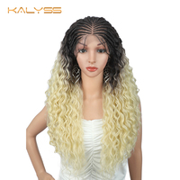 Kalyss 28 inches 13x4 Long Braid Wig Lace Front Synthetic Wig for Women Lightweight Ombre Brown to Blonde Kindly Curly Wavy Wig