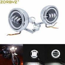 """ZORBYZ Motorcycle 4.5"""" Chrome Metal LED Driving Passing Spot Fog Light Bar For Harley Touring Bobbers Chopper Custom"""