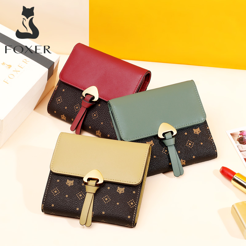 Foxer Women Short Wallet Embossing Coin Purse Woman PVC Leather Card Holder Female Mini Wallet Classical Wallet Lady Money Bag