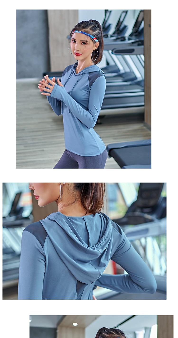 Sports Sweatshirt Women Hooded Drawstring Yoga Top