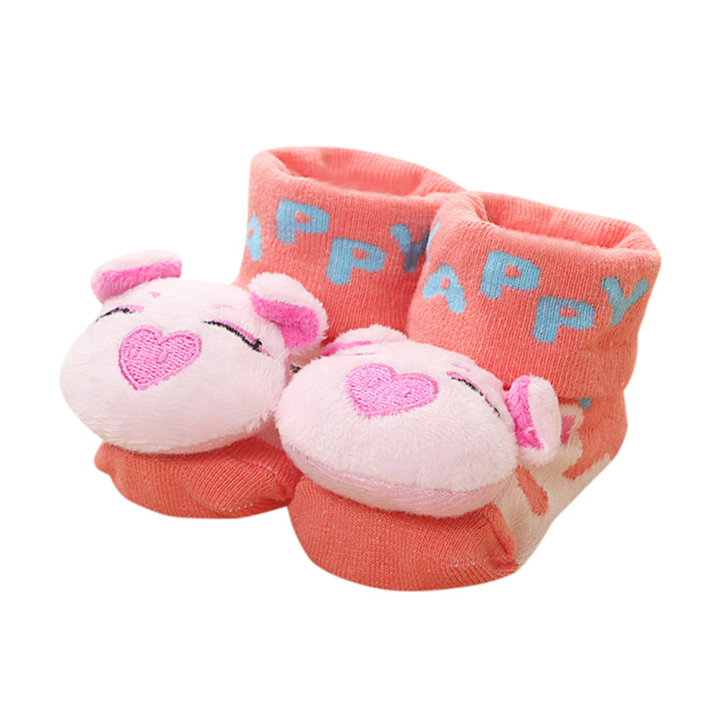 Newborns Socks Cute Cartoon 3D Animal Monkey Pig Infant Baby Girl Boys Striped Letter Anti-slip Warm Floor Socks Boots 0-12M A20