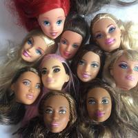 Rare Original Good Doll Head Princess Doll Toys Parts DIY Toy White Black Skin Doll Heads Blue Green Pink Long Hair Doll Toy