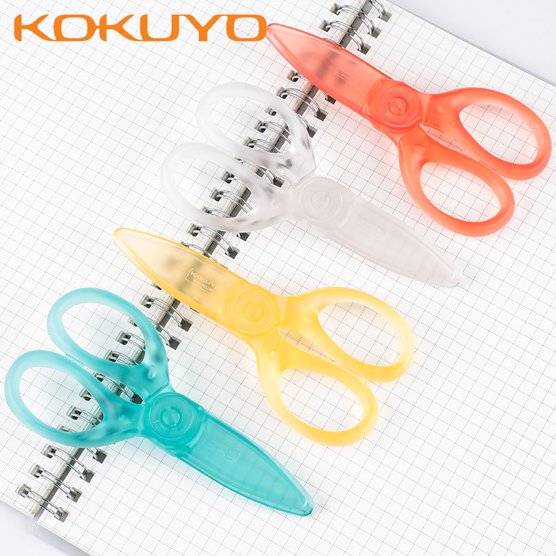 2pcs KOKUYO WSG-HSJ230 Pastel Cookie Translucent ABS Resin Children's Scissors Safety Protection Hands Kindergarten Stationery