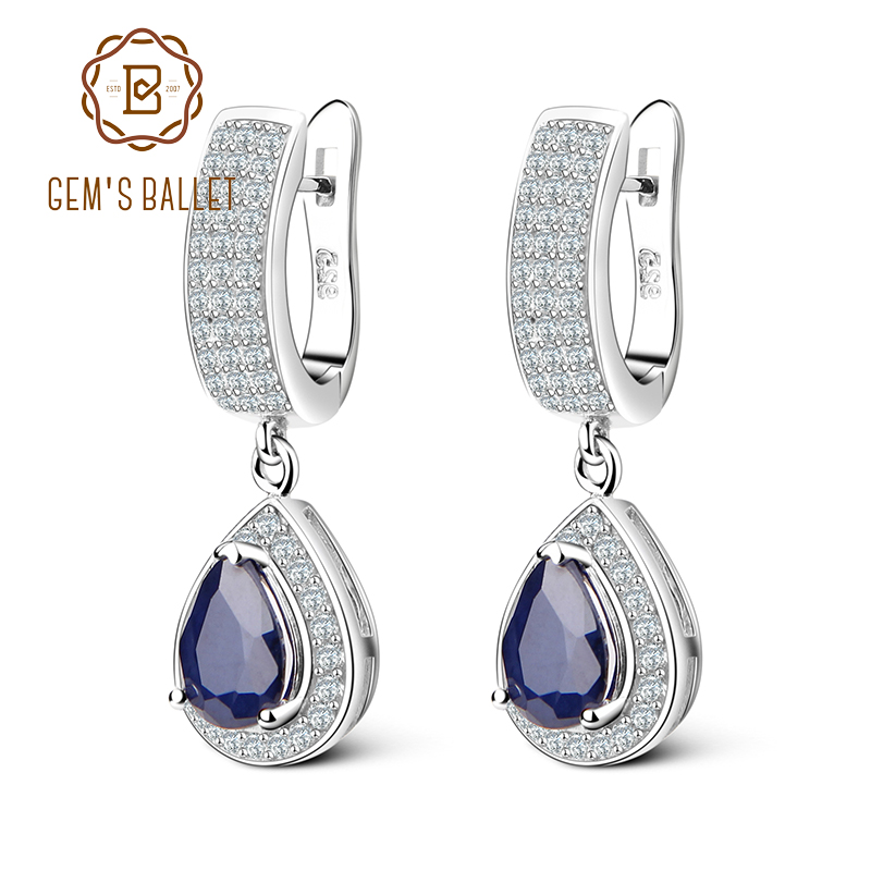 GEM'S BALLET 1.29ct Natural Sapphire Gemstone Drop Earrings Solid 925 Sterling Silver Fine Jewelry For Women Wedding