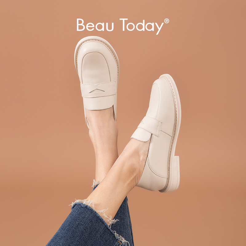 BeauToday Penny Loafers Women Genuine Cow Leather Round Toe Slip On Moccasin Flats Lady Casual Shoes Handmade 21461