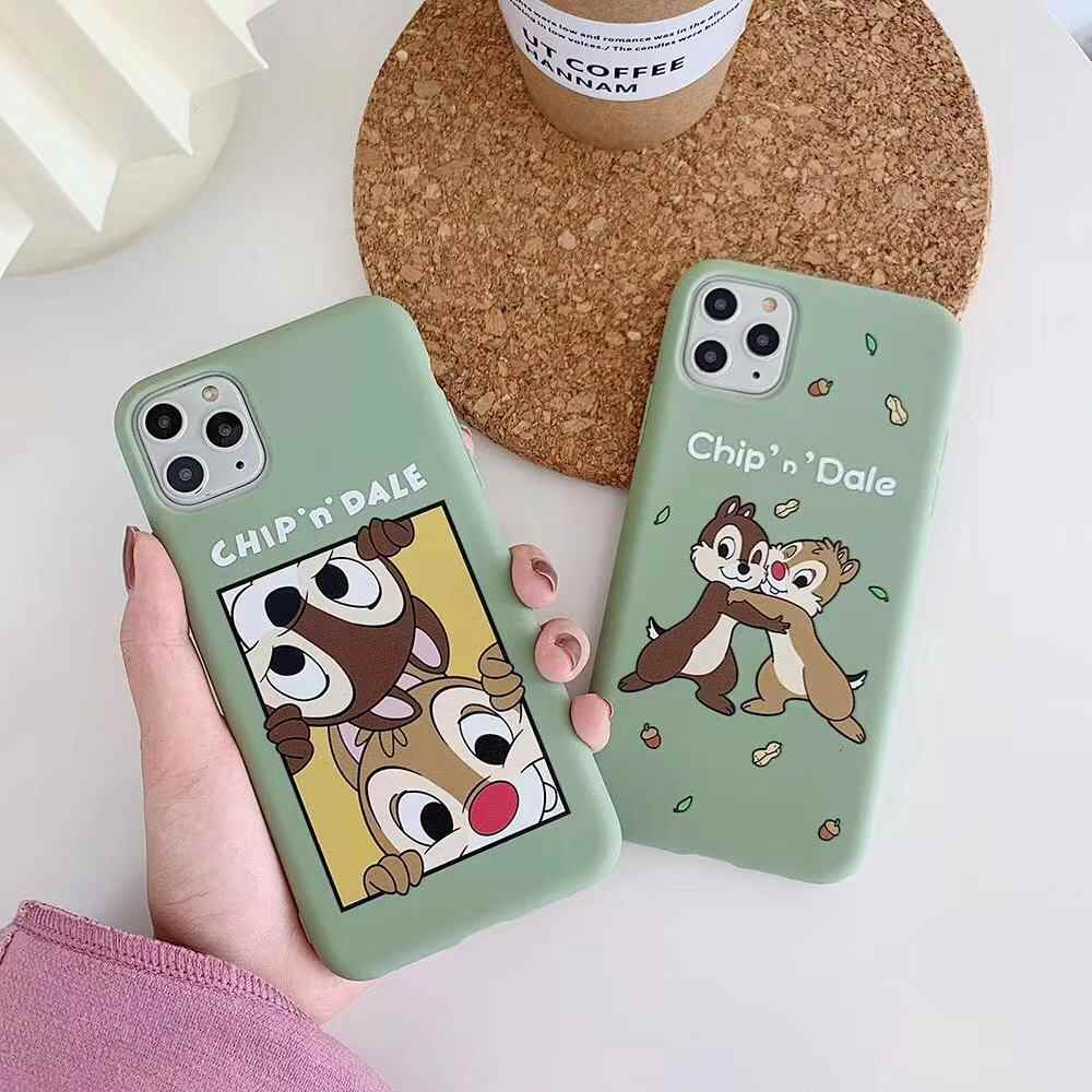 For iphone 11Pro MAX Japan Korean cute good friend CHip Dale matte anti-fall soft cover for iphone MAX XS XR 7 8plus phone cases