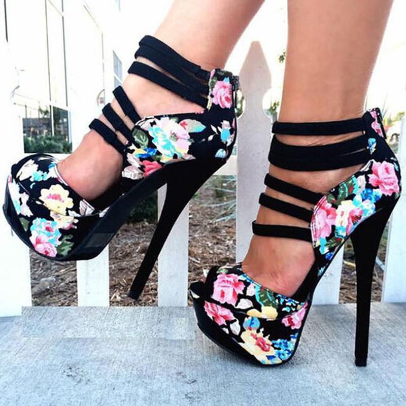US4-13 Womens Print Floral Mixed Colors Platform Peep Toe Stilettos Super High Heel 15CM Sandals Cross Straps Rome Shoes Plus Sz