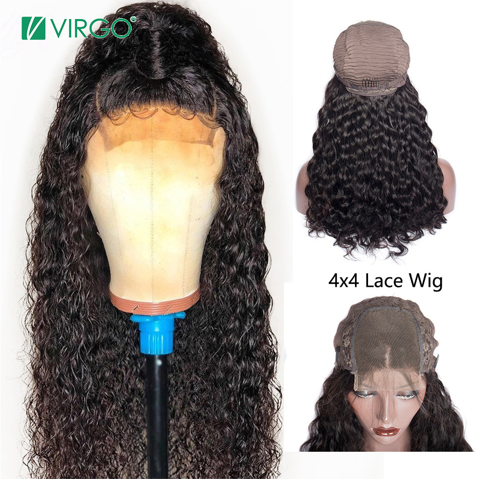Virgo Water Wave 4x4 Lace Closure Wig With Baby Hair For Black Women Brazilian 150% Density Remy Hair Bleached Knots 10-24 Inch