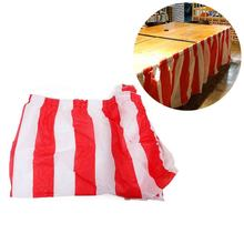 PVC Striped Table Skirt Circus Theme Table Skirt Double-sided Tape Design Party Festival Supplies Home Kitchen Table Decoration(China)