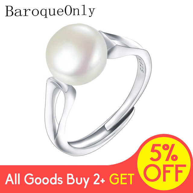 BaroqueOnly 2018Fashion Pearl Ring Jewelry of Silver Oval Natural Freshwater Pearl Rings 925 Sterling Silver Rings for WomenGift