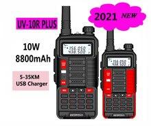 2 pces baofeng uv 10r uv10r mais caça walkie talkie woki toki estação de rádio móvel carregador usb scanner rádio vhf uhf polícia presunto