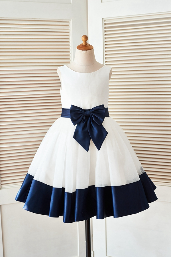 White and Dark Blue Ball Gown New   Flower     Girl     Dress   2019 Simple Satin Tulle   Dress   with Big Bow Sleeveless Zipper up   Dress