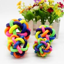 Toy Dog-Woven-Ball Chew-Toys Pet-Suppli Rubber Rainbow Interactive Round Teeth-Training