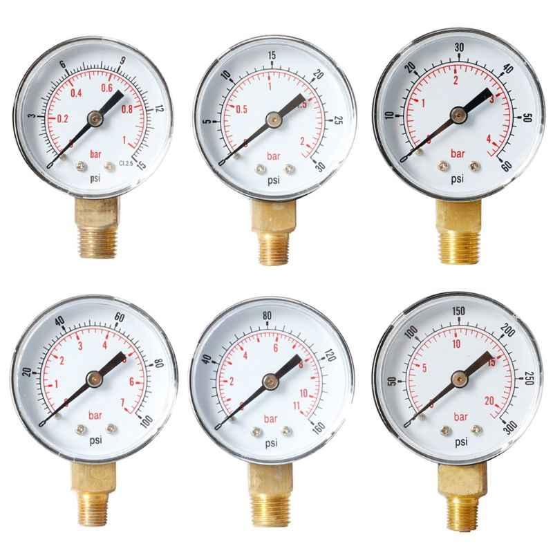 1//4 Radial Manometer für Kraftstoff Luft Öl oder Wasser 0-300 PSi 0-20 Bar
