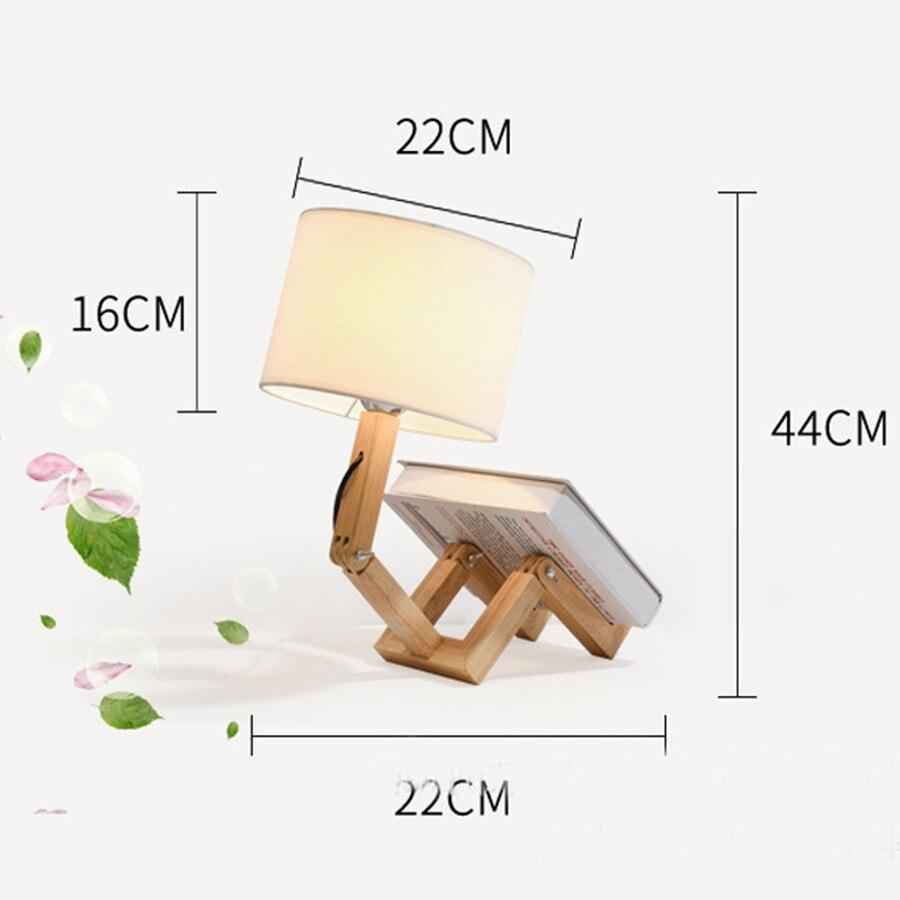 mesa com pano abajur criativo quarto cabeceira mesa de madeira luz leitura 05