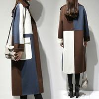 Elegant Long Woolen Coat Women Autumn Winter Plus Size Wool Overcoat Female Korean Loose Color Matching Wool Coats Jackets W1649