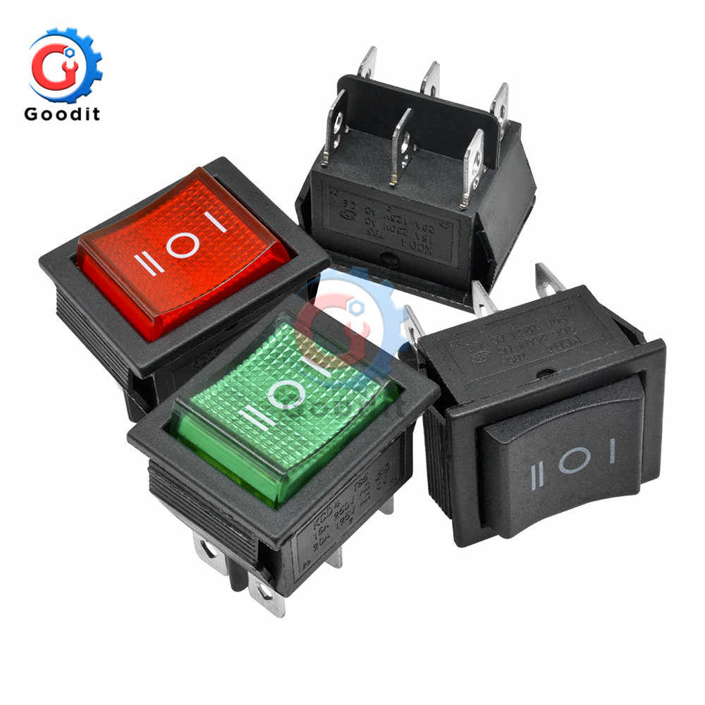 KCD4 Rocker Switch Button ON-OFF-ON 3 Position 6 Pins Electrical Equipment With Light Power Switch 16A 250VAC 250V AC
