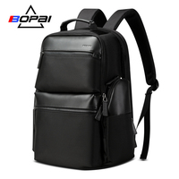 BOPAI Anti Theft USB Charging Backpack Travel Laptop Bag Cow Leather for 15.6 Inch Large Capacity Business Backpack Waterproof