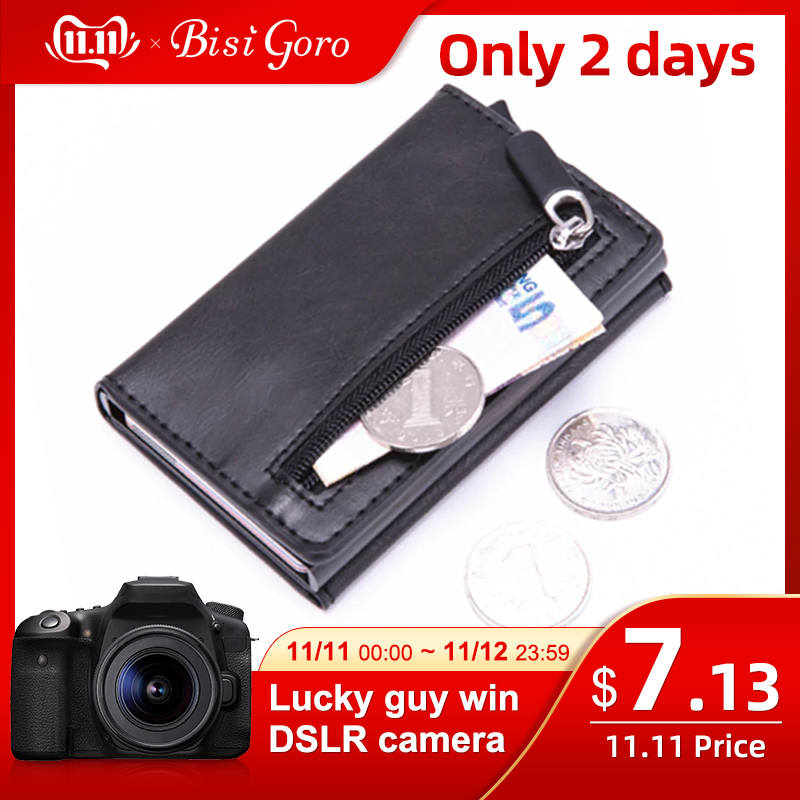 BISI GORO Smart Wallet Vintage PU Leather Coin Purses Magnetic Closing Card Holder Casual Money Bag RFID Blocking Card Wallet