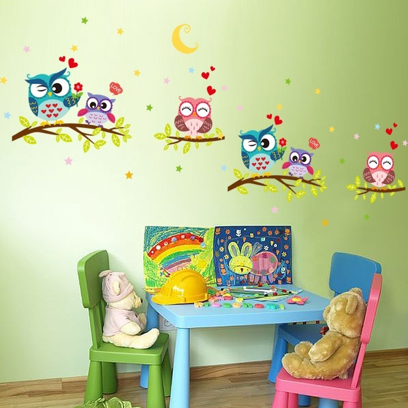Wallpaper Sticker Happy Removable Waterproof Cartoon Animal Owl Wall Sticker Kids Home Decor Wallpapers For Living Room 5