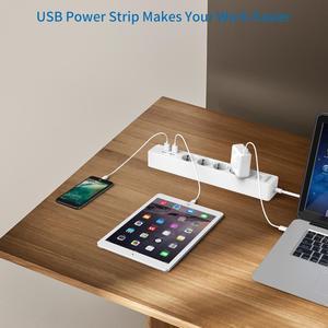 Image 5 - NTONPOWER 스마트 USB 전원 스트립 EU 플러그 4 콘센트 4 포트 USB 충전기 1.5M 케이블 전자 소켓 홈 오피스 서지 보호기