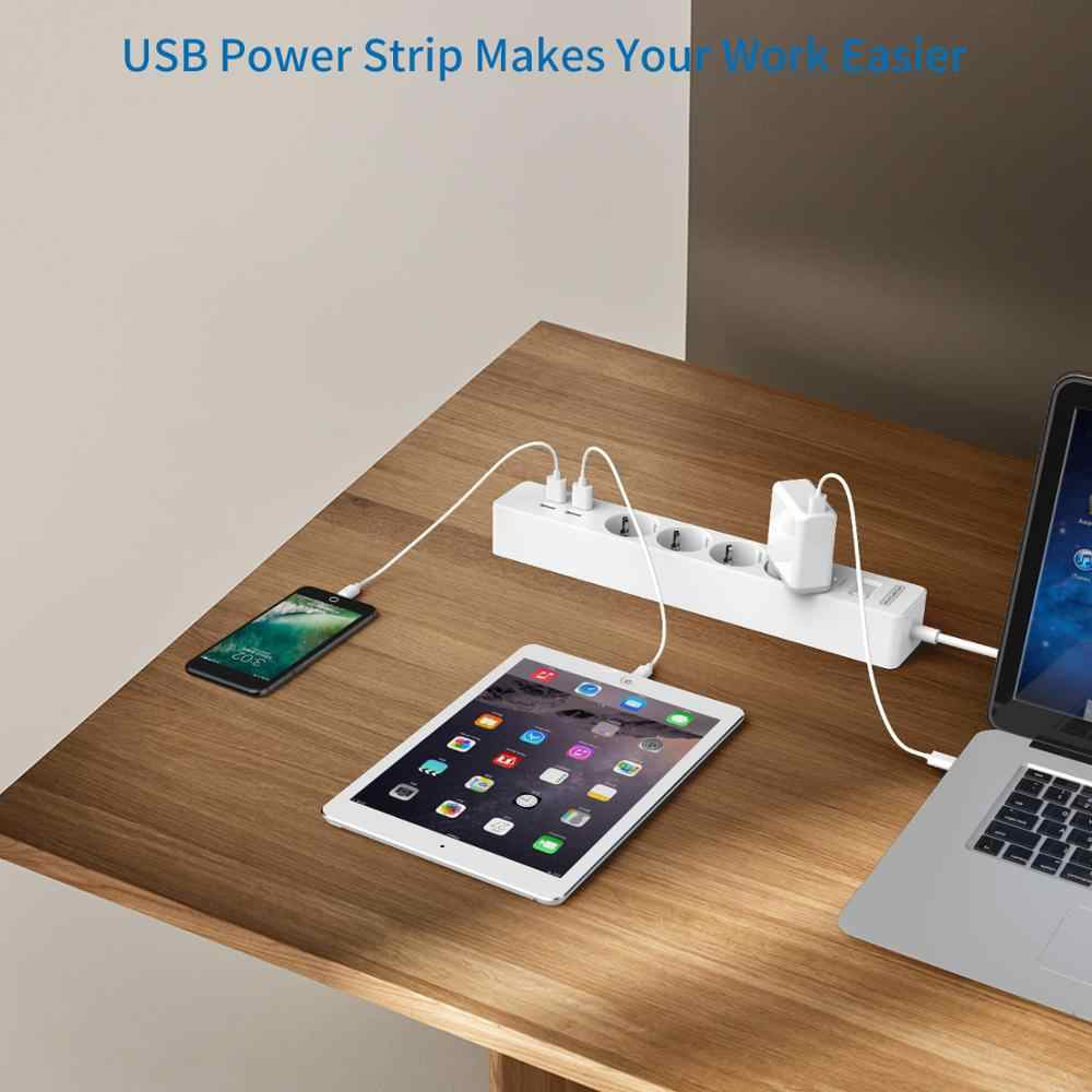 Ntonpower Smart Usb Power Strip Eu Plug 4 Outlet 4 Port Usb Charger-1.5 M Kabel Elektronische Socket Thuis kantoor Surge Protector