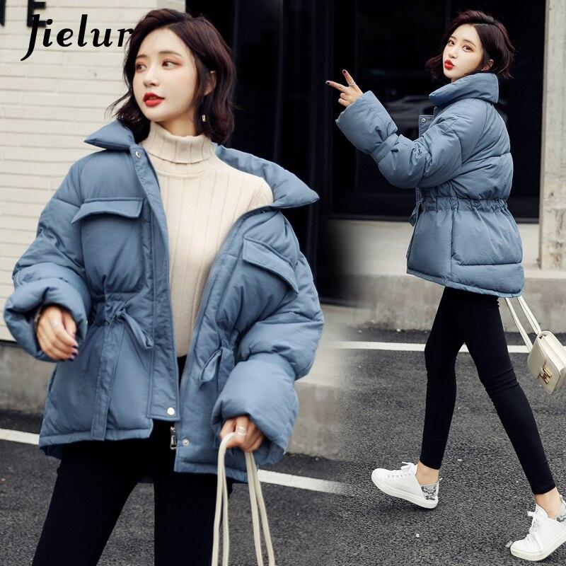 Jielur 2019 корейская Зимняя парка женская теплая Толстая хлопковая куртка женская шикарная свободная тонкая поясная сумка синее пальто m xxl