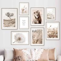 Lion Reed Löwenzahn Zitieren Trockenen Baum Beige Wand Kunst Leinwand Malerei Nordic Poster Und Drucke Wand Bilder Für Wohnzimmer decor
