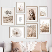 Lion Reed Dandelion Quote Dry Tree Beige Wall Art Canvas Painting Nordic Posters And Prints Wall Pictures For Living Room Decor