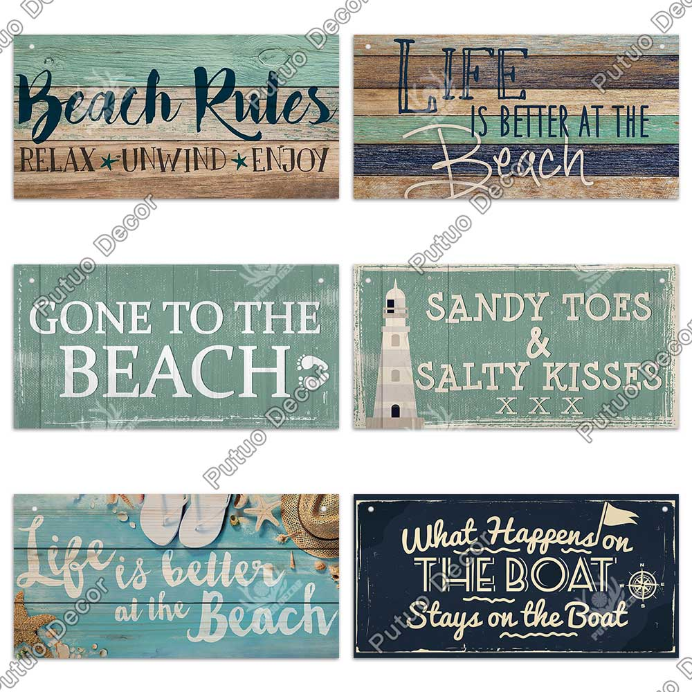 Putuo Decor Beach Signs Hanging Plaque Summer Wood Wall Plaque Wooden Signs for Beach House Decoration Bar Beach Tent Decor