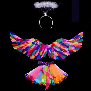Image 2 - Costume Kids Women Girl Angel Feather Wing Tutu Skirt Halo Ring Headband Party Birthday Gift Carnival Wedding  home decor