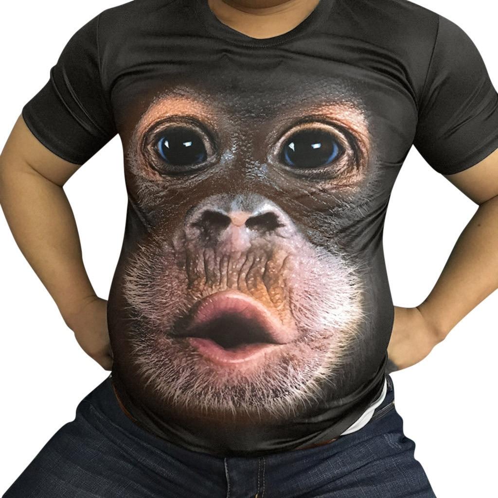 Men's T Shirt Clothing O-Neck Short Sleeve Animal T-shirt Monkey 3D Digital Printed T Shirt Tops Large Size Dropshipping ##3
